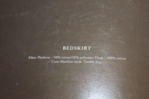 """Fieldcrest Luxury King Bedskirt Gray White 15/"""" drop new #08"""