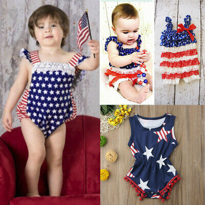Baby Romper 4th of July Bodysuits USA Flag Stripes Jumpsuit With Headband