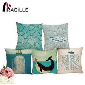 Miracille Cotton Linen 18 Blue Sea Series Fish Print Home Decorative Throw Ebay