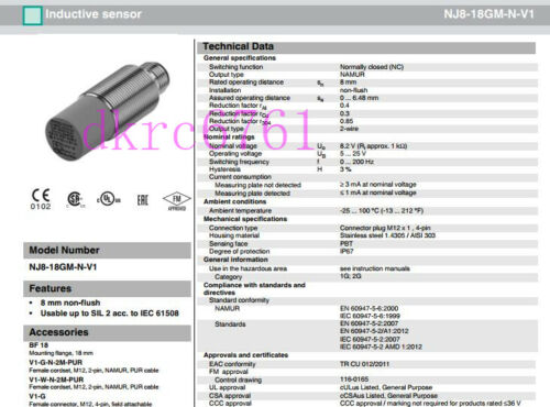 Original Proximity Switch NJ8-18GM-N-V1 Sensor