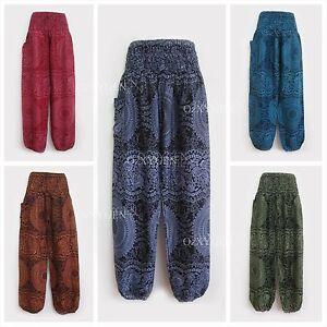 Ladies-Smock-Harem-Pants-Baggy-Bohemian-Boho-Hippie-Aladdin-Yoga-Genie-Trousers