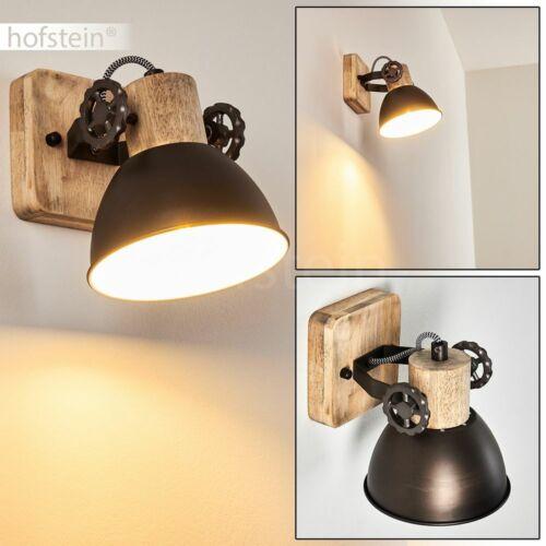 Retro Wohn Schlaf Raum Lampe Anthrazit//Holz Decken Leuchte Flur Dielen Strahler