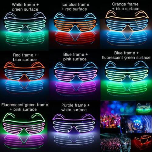 Multicolor LED EL Sunglasses Neon Light Up Glow Flashing Party nightclub Cool
