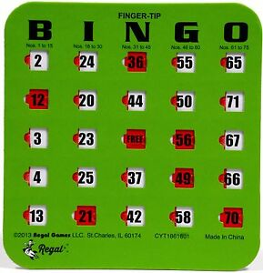 50 or 100 BLUE or GREEN EASY SLIDE BINGO SHUTTER CARDS AVAILABLE IN 25