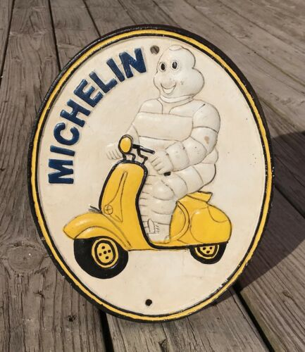 MICHELIN Bibendum on Scooter London 1952 Cast Iron Plaque Sign
