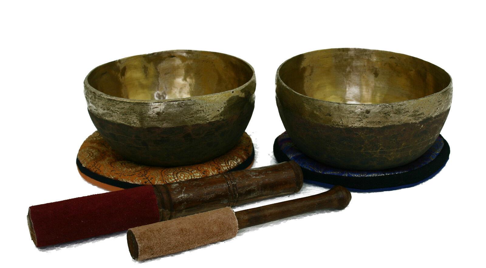 Klangschale Set Klangmassage Meditation Klangtherapie 2 St. 1087g Hörprobe S474