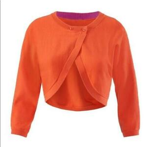 NEW-CABI-Piccolo-Shrug-Cardigan-Sweater-5008-Orange-Cropped-Double-Breasted-M