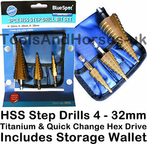 3pc-Large-HSS-Step-Cone-Drill-Bit-Set-Titanium-HSS-Bit-Set-Hole-Cutter-Hex-Drive