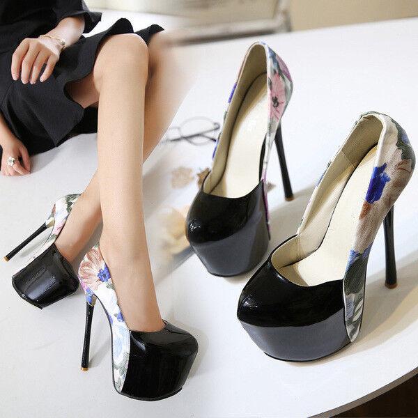 Sandali stiletto decolte 14 cm nero fiori plateau simil pelle  eleganti 1217