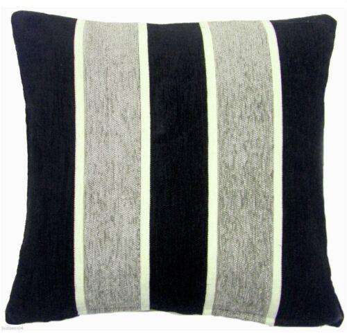 """43cm Cushion Cover Silver Grey Black Cream Thick Chenille Stripe 17/"""""""