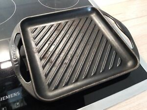 le creuset grillplatte grillpfanne gusseisen quadratisch 24x24cm schwarz ebay. Black Bedroom Furniture Sets. Home Design Ideas