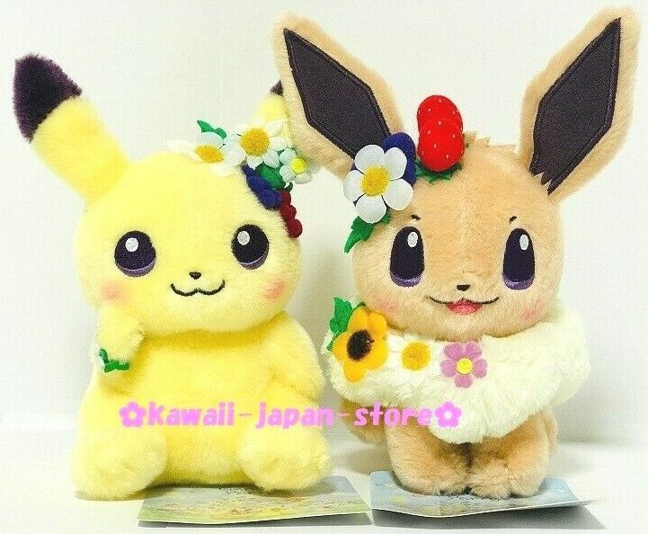 Pokemon Center Original 2019 EASTER GARDEN PARTY Plush Doll Pikachu & Eevee Set