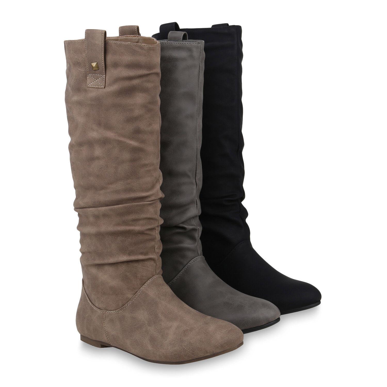 Damen Schlupfstiefel Warm Gefütterte Stiefel Nieten Winter 820242 Schuhe