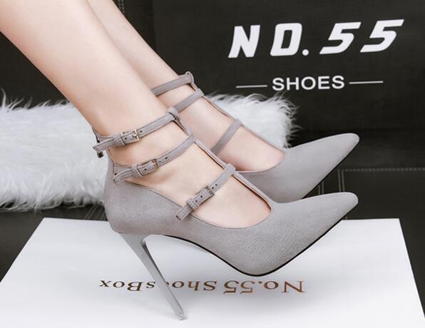 court schuhe Sandales stiletto 10 cm elegant Grau pearl strap like Leder CW994