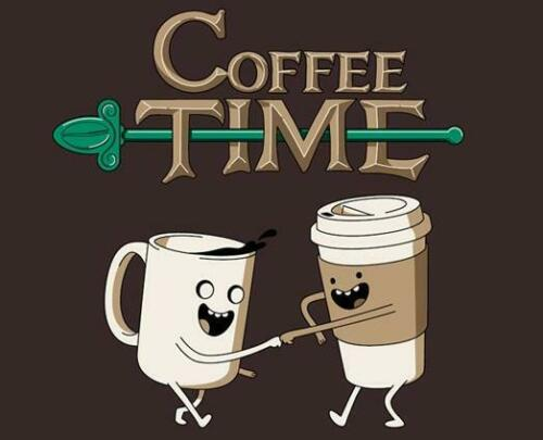 Adventure Time Coffee Java Starbucks Satire Parody Teefury Men XXL Shirt RARE