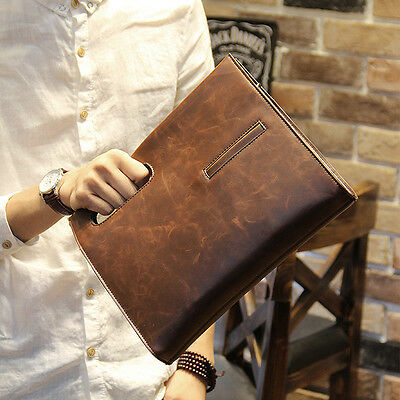 Men's Vintage Brown PU Leather Briefcase Messenger Shoulder Bag Handbag Business