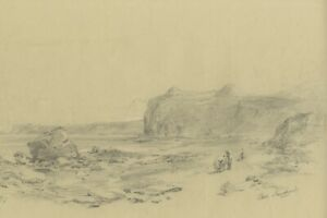 Ralph Stubbs, Figures on Beach, Sandsend – Late 19th-century graphite drawing