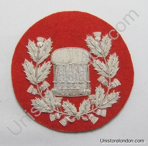 Drum Major Badge Silver on Red Pipe Band R1218