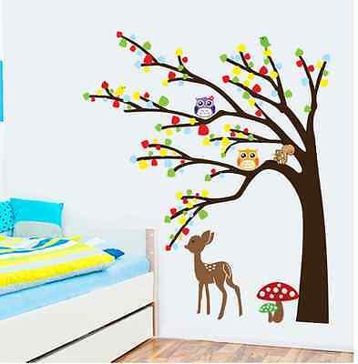 Wandtattoo Wald Sticker Tiere Baum Spielzimmer Bild Kitze Gross Kinderzimmer 47 Ebay