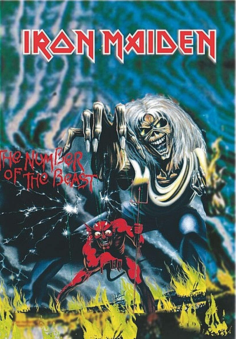 Iron Maiden Number Of The Beast Large Fabric Poster Flag 1100mm X 700mm Hr For Sale Online Ebay