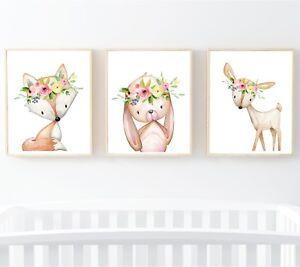 3 Impresiones De Boho Woodland Animales Guardería Arte Ciervo Conejo Zorro Floral Pared Arte 602-A