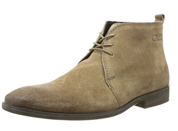 Men's Greasy Suede Taupe Lace Up Desert Style Chukka Ankle Boots 6 free shipping