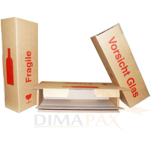 Wein Versand Karton für 1 Flasche Verpackung Versand Sekt Prosecco 4 Stück