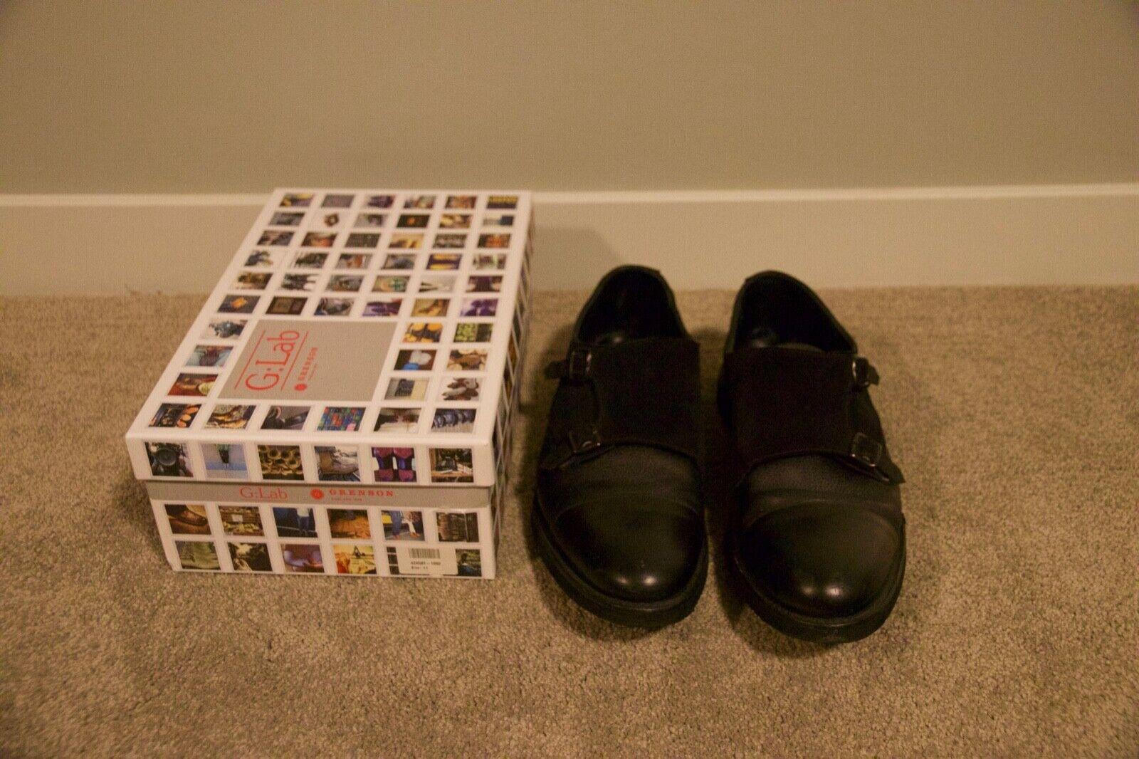 Grenson G lab nero leather suede double monk strap scarpe 11F