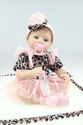 Nicery Reborn Baby Doll Soft Silicone Girl Toy 22in. 55cm Black Dress