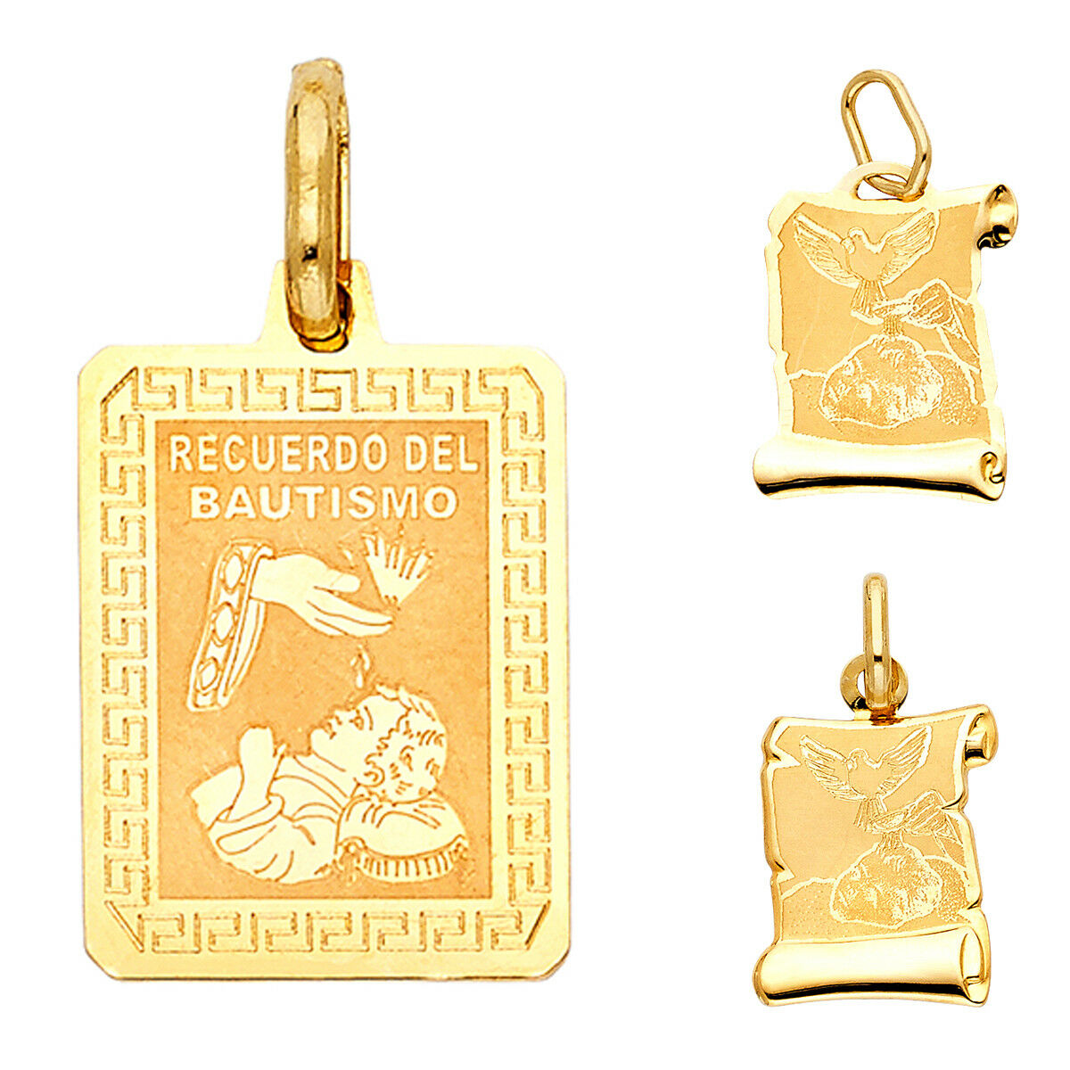 14K Yellow gold Religious Baptism Pendant For Woman men Baptism Collection