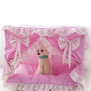 Cute Princess Handmade Cotton Dog Cat Bed Pet House Tent Frame Bed Pink/Blue New