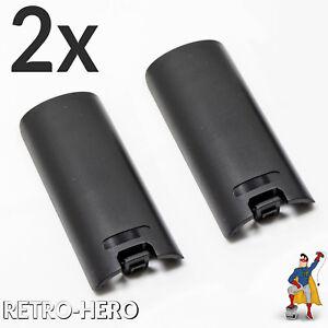 2x-Wii-Batteriefach-Deckel-Fach-Abdeckung-Akku-Klappe-Remote-Controller-Schwarz
