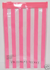 VICTORIA'S SECRET PINK CLEAR STRIPE MAKEUP COSMETIC LIP GLOSS BAG TRAVEL POUCH