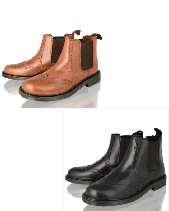 SchöN Boys Kids Infants Real Leather Chelsea Dealer Ankle Brogue Tan Boots Shoes Size