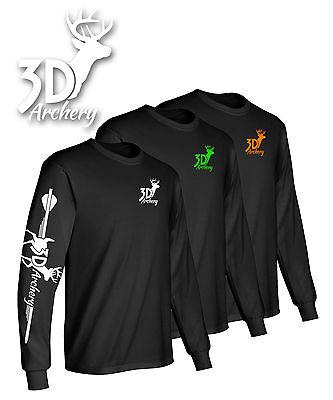 3D Archery Brand Long Sleeve T Shirt,Compound Bow,Recurve,Crossbow,Target,arrow