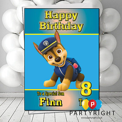 ANY NAME AGE RELATION PAW PATROL CHASE PERSONALISED BIRTHDAY CARD