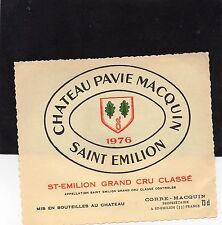 SAINT EMILION GCC VIEILLE ETIQUETTE CHATEAU PAVIE MACQUIN 1976 RARE   §20/09/16§