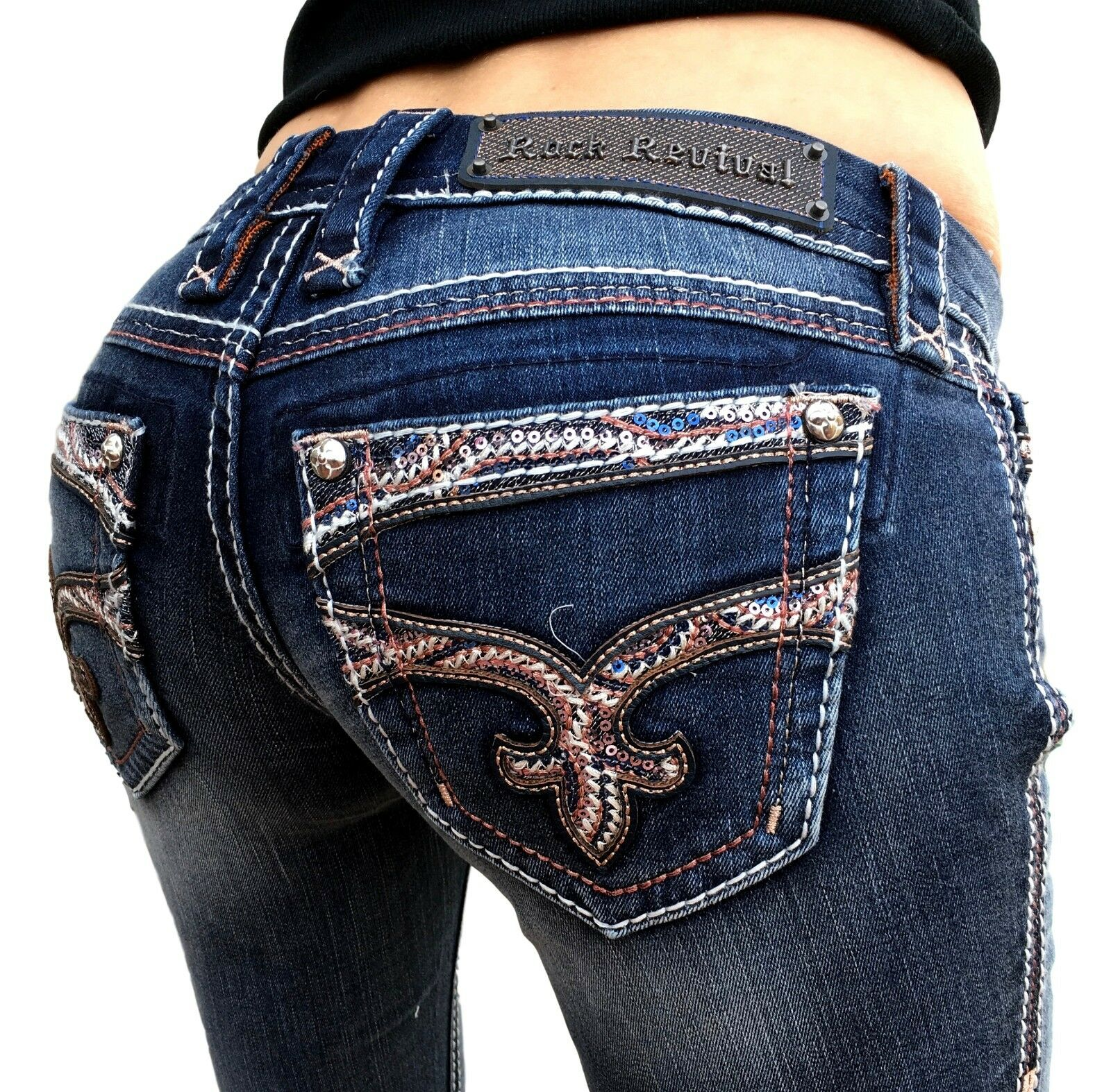 Rock Revival Jeans Größe basse ornées Jaylyn Stiefelcut stretch jean 25 x 33