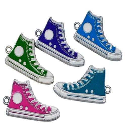 5 x Shoes Zinc Alloy Enamel Charm Pendants A0821 Mixed