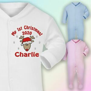 0-3 Months Embroidered Sleepsuit in White Personalised 1st Christmas Lockdown 2020 Hot Pink Thread