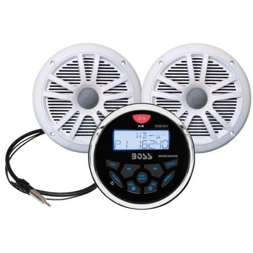 """Whit Marine Radio w// Antenna /& 2 6.5/""""/"""" Speakers Boss Audio MCKGB350W.6 Combo"""