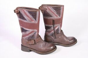 10S-Damen-Stiefel-Biker-Boots-Leder-braun-Gr-36-England-Union-Jack-Stickerei