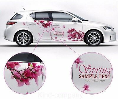 A Set colorful cherry blossom car sticker lovely auto body flower decal emblems