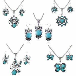 Vintage-Butterfly-Turquoise-Crystal-Earrings-Necklace-Jewelry-Set-Women-Gift-Hot