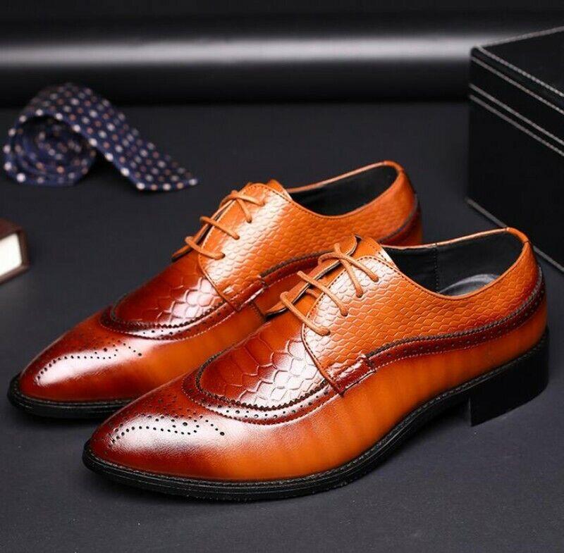 Mens Low Top Bloc Bout Pointu Lacets Décontracté Loisirs Chaussures Chaussures en cuir news