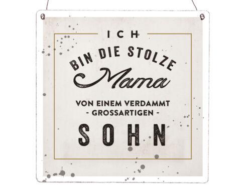 XL Holzschild Vintage Shabby ICH BIN DIE STOLZE MAMA VON EINEM SOHN Kind Junge