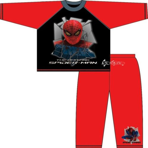 Boys Amazing Spiderman Long Cotton Pyjamas Ages 3-10 Years Black Red