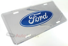 New Ford Logo License Plate Aluminum Stamped Embossed Metal Chrome Tag