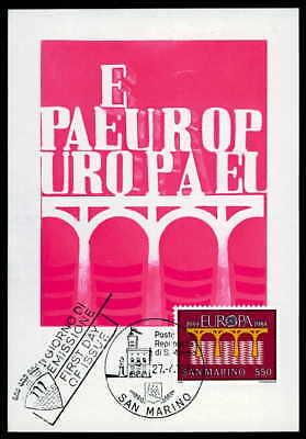 San Marino Mk 1984 Europa Cept BrÜcke Maximumkarte Carte Maximum Card Mc /m993 Motive