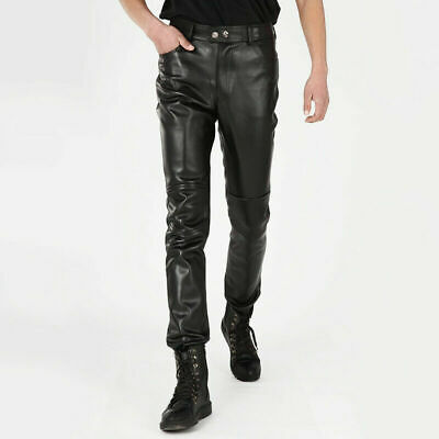 Mens Faux Leather Cone Studded Pants PU Trousers Bottoms Stage Costume Punk EAN